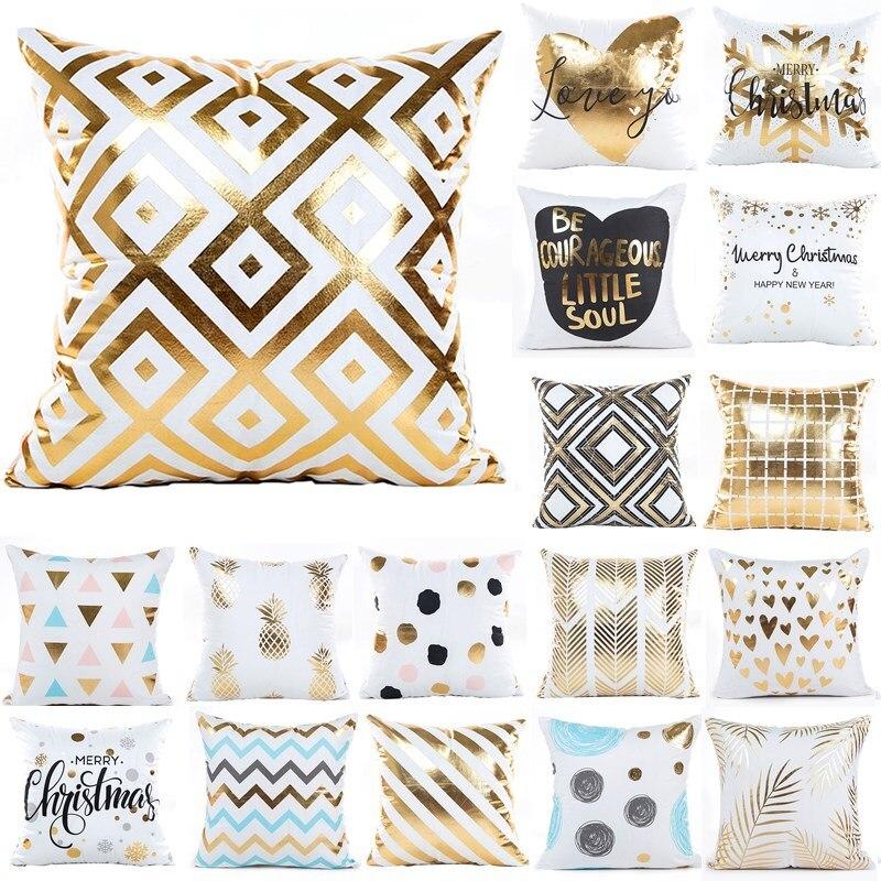 1Pcs 45*45cm Bronzing striped Gemetric Pattern Throw Pillow Cushion Cover Home Decoration Sofa Decor Decorative Pillowcase 40429