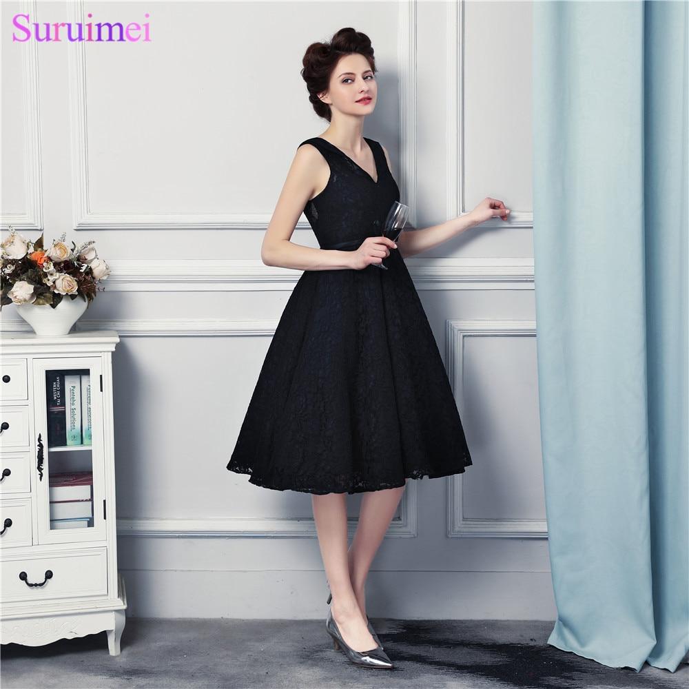 Short Bridesmaid Dresses V Neck High Quality Lace Corset Black Brides Maid Vestidos De Dresses