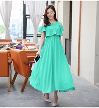 2018 New Summer Maternity Nursing Dresses Long Chiffon Bohemian Beach Dress Pregnant Clothing For Breastfeeding Dress Pregnancy(China)