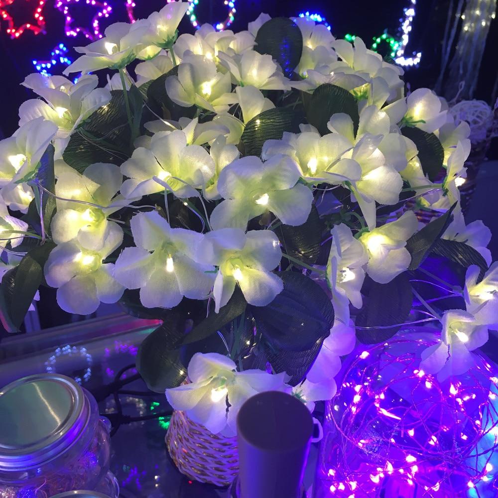 20 LED Blüte Blumen lila Lichterkette Silberdraht Batterie betrieben Dekoration