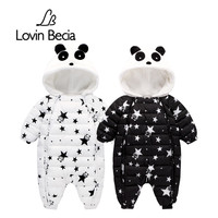 Lovinbecia Winter Baby Newborn Romper Boys Snowsuit Panda Down Warm Jumpsuit Kids Girls Children Hoodies Overalls
