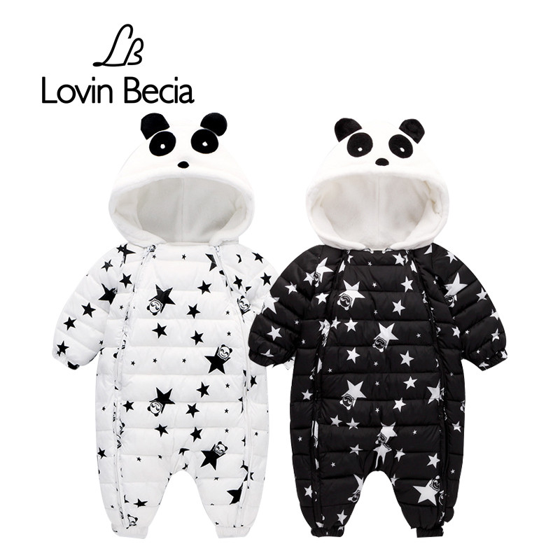 Lovinbecia Winter baby Newborn romper boys Snowsuit panda down Warm jumpsuit kids girls children hoodies overalls winter clothes puseky 2017 infant romper baby boys girls jumpsuit newborn bebe clothing hooded toddler baby clothes cute panda romper costumes