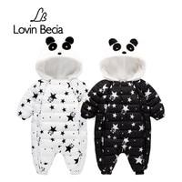 Lovinbecia Winter Baby Newborn Romper Boys Snowsuit Panda Down Warm Jumpsuit Kids Girls Children Hoodies Overalls