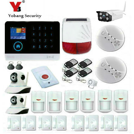 YobangSecurity Wifi GSM GPRS Home Burglar Security Alarm System Outdoor Indoor Ip Camera Solar Power Siren Smoke Fire Detector yobangsecurity wireless wifi gsm gprs rfid burglar home security alarm system outdoor ip camera pet friendly immune detector
