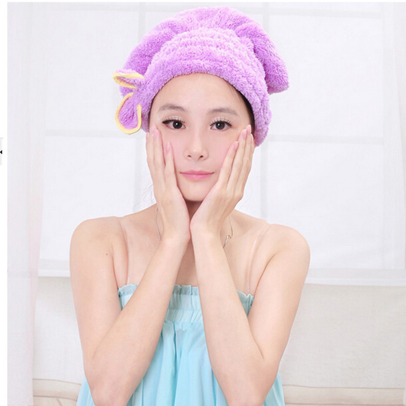 5 Colors Microfiber Solid Hair Turban Quickly Dry Hair Hat Womens Cap Drying Towel Head Wrap Hat Bathing Tool Hot Sale