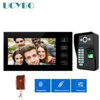 7 видеодомофон монитор домофона системы звонок отпечатков пальцев видео телефон двери 1000TVL HD камера ночного видения удаленную блокировку