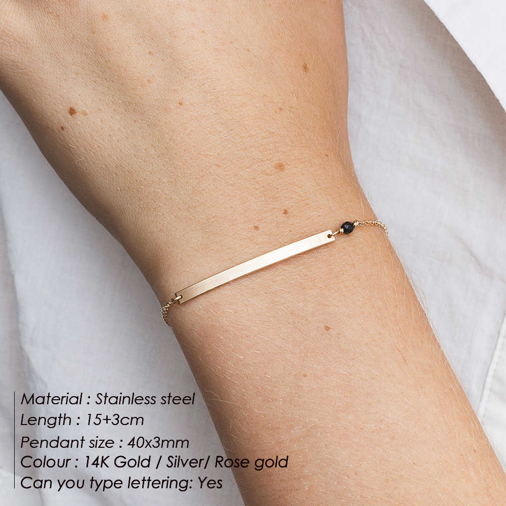 eManco DIY Name custom Stainless steel Bracelets for women initial personalized Multilayer Bracelet Best friend Bracelet Jewelry