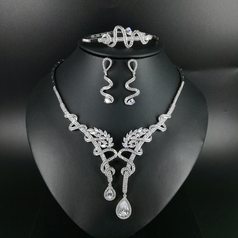 NEW FASHION Retro crystal water drop zircon necklace earring wedding bride banquet formal dinner dress jewelry set free shippingNEW FASHION Retro crystal water drop zircon necklace earring wedding bride banquet formal dinner dress jewelry set free shipping