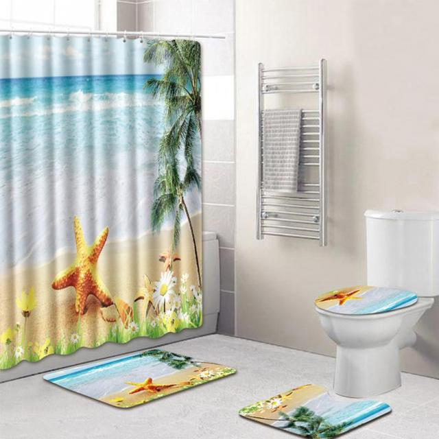 8 Types 4Pcs Set Bathroom Non-Slip Pedestal Rug + Lid Toilet Cover + Bath Mat+Shower curtain