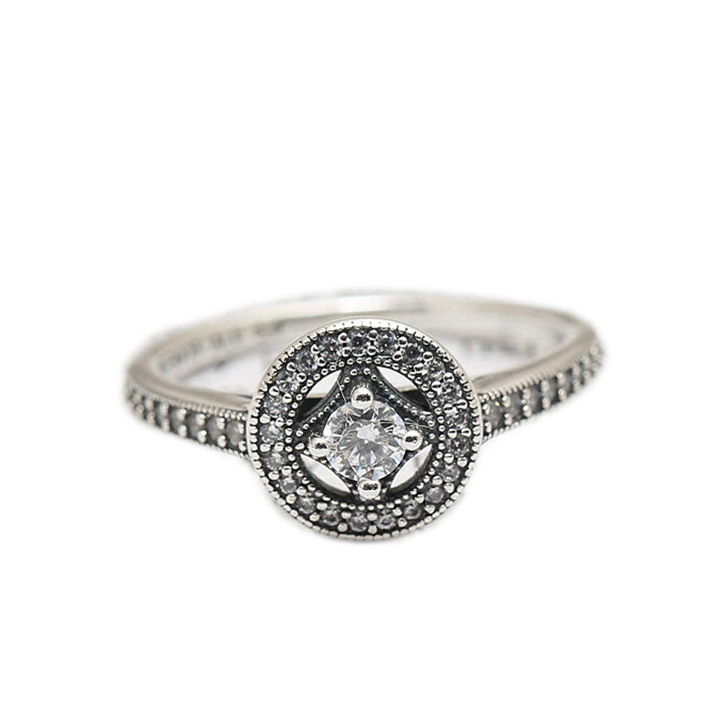 2016 vintage silver rings with clear cz