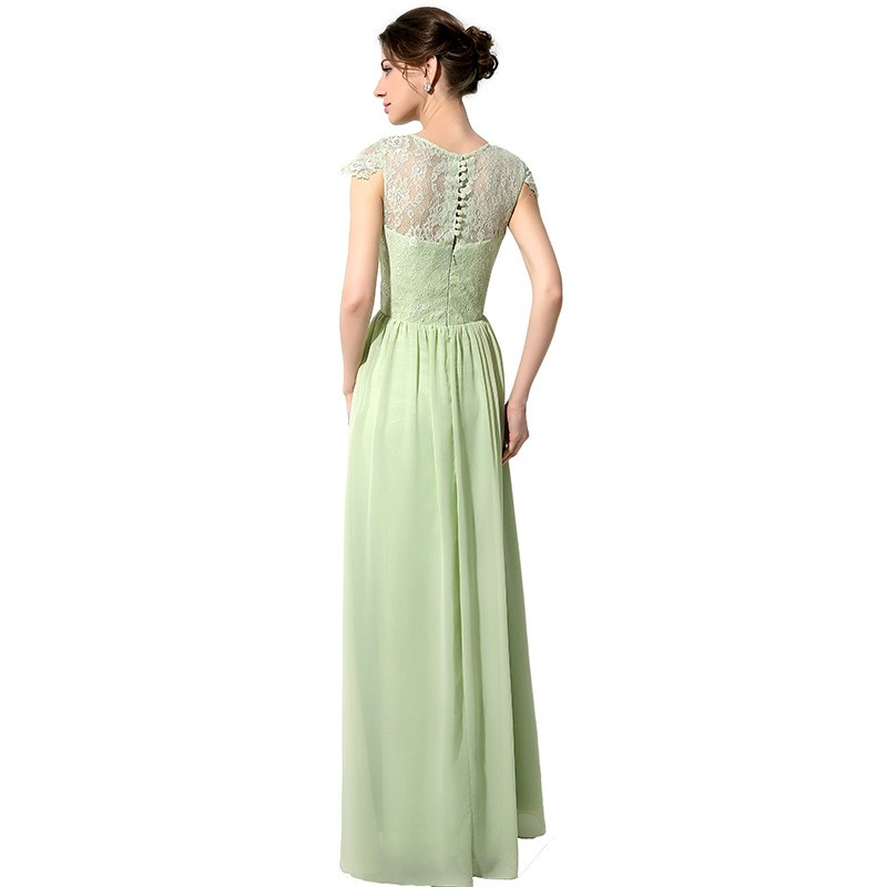 2017 Hot Sage Green Long Lace Chiffon Bridesmaid Dresses Modest With