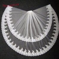 2017 Elegant Bridal Veils Lace Edge Two Layer Wedding Veil Tulle Ivory White 2017 Veu De