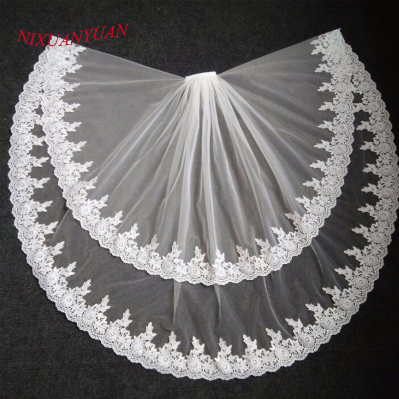 2018 Elegant Bridal Veils Lace Edge Two Layer Wedding Veil Tulle Ivory White 2017 veu de noiva Bridal Accessories With Comb Real
