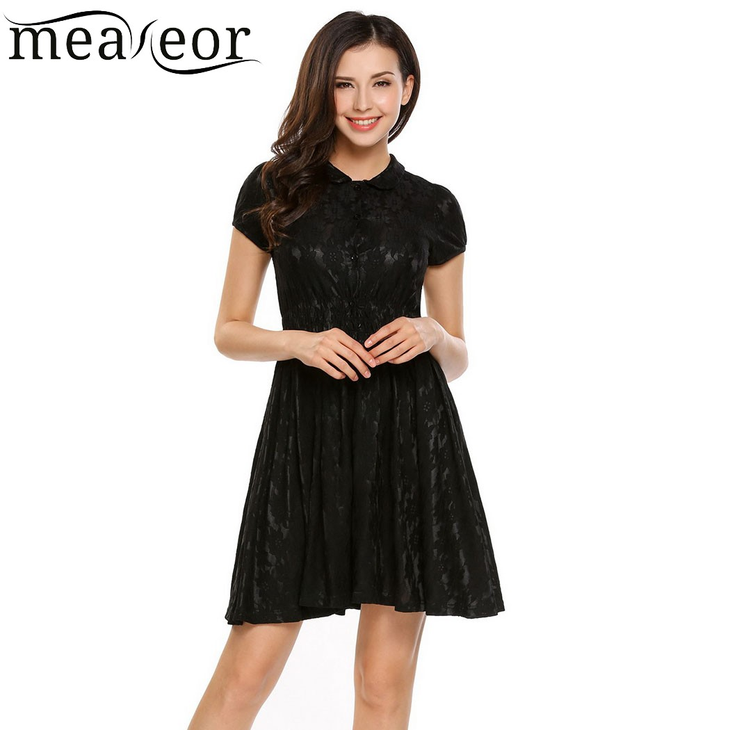 Meaneor Floral Lace Button A Line Pleated Mini Dress Women Turn Down Collar Elastic Waist Short Dress Solid Summer Dress Vestido