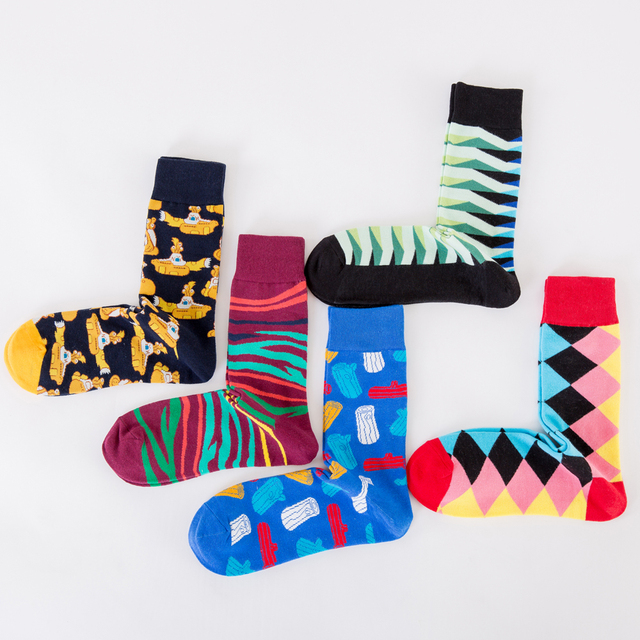 Jhouson 1 pair Wholesale Colorful Men's Funny Combed Cotton Causal Skateboard Socks Crew Dress Wedding Socks Novelty Happy Socks 3
