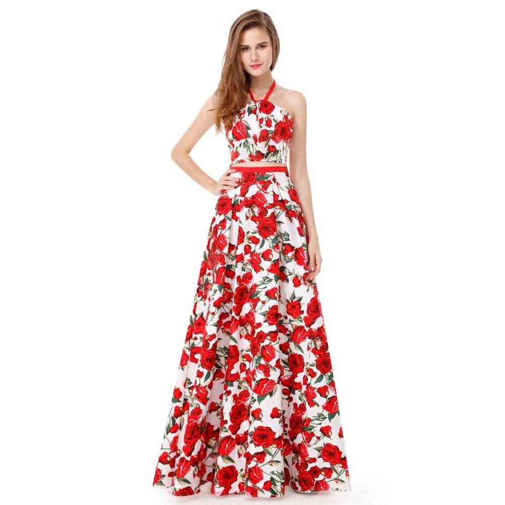 Blumendruck Zweiteiler Prom Kleid 2018 Halter Backless Gala Jurken ...