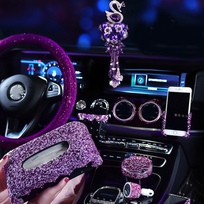 Purple Crystal Car Ornaments Decoration Rhinestone Steering Wheel Cover for Girls Car Ashtray Pendant Interior Car Accessories