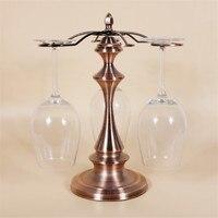 Bronze de Metal Suporte de Vidro De Vinho 6 Cabide Prático Misteriosa Torre Stand Moderno Bar de Decoração Para Casa