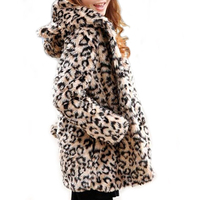 2016Lady Faux Fur Coat Winter Leopard Fur Jacket Long Hooded Fur Outerwear Bear Ear Leopard Coat