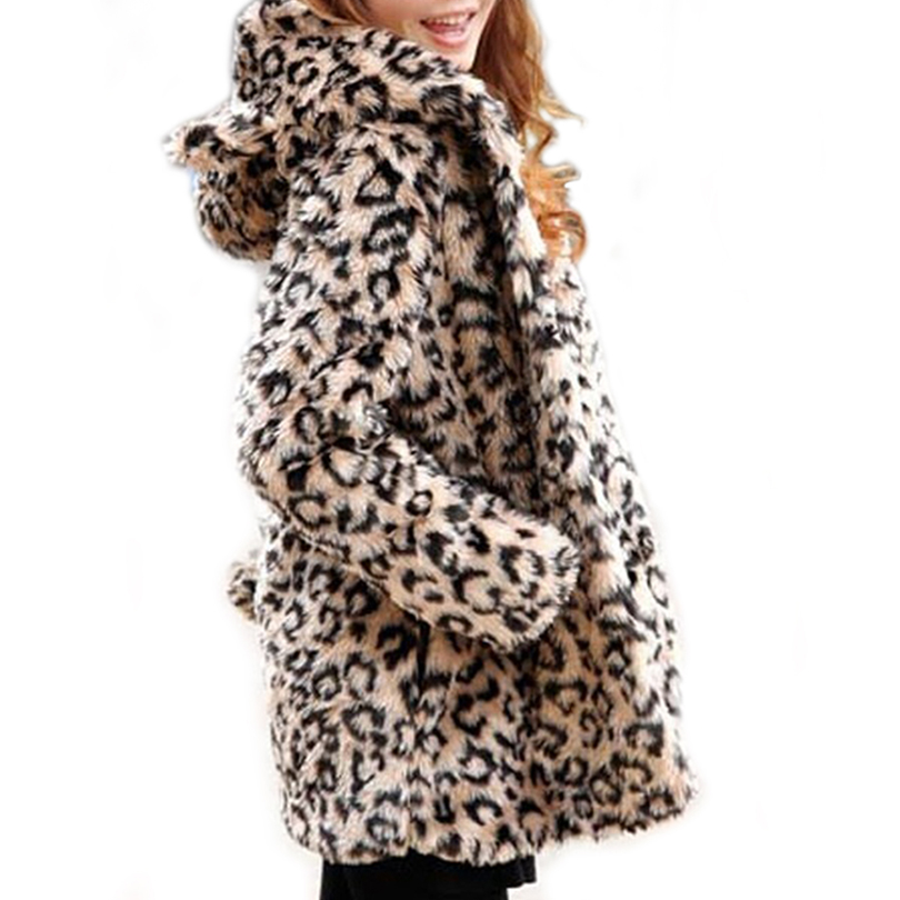 2016 Luxurious Lady Faux Fur Coat Winter Leopard Fur Jacket Long Hooded Fur Outerwear Coat Warm Faux Fur Coat Women Winter coat pearl beading textured faux fur coat