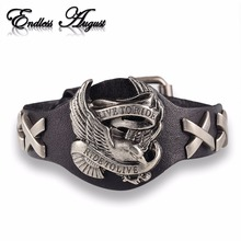 Endless August Hot sale ride to live bracelets Wolf Skull Retro bracelet men Genuine Leather Bracelet