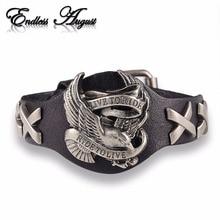Endless August Hot sale ride to live bracelets Wolf Skull Retro bracelet  men Genuine Leather Bracelet Men Woman bracelets
