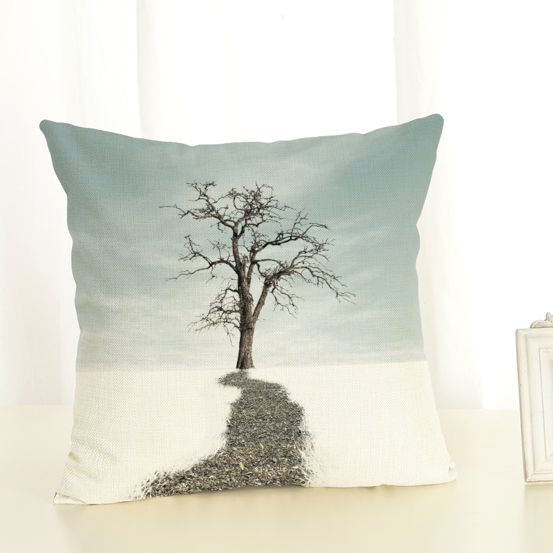 2017 retro style high quality a tree linen pillow decorated linen pad without filling