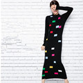 2016 pattern turtleneck knitted one-piece dress ultra slim long dress wool sweater full dress women