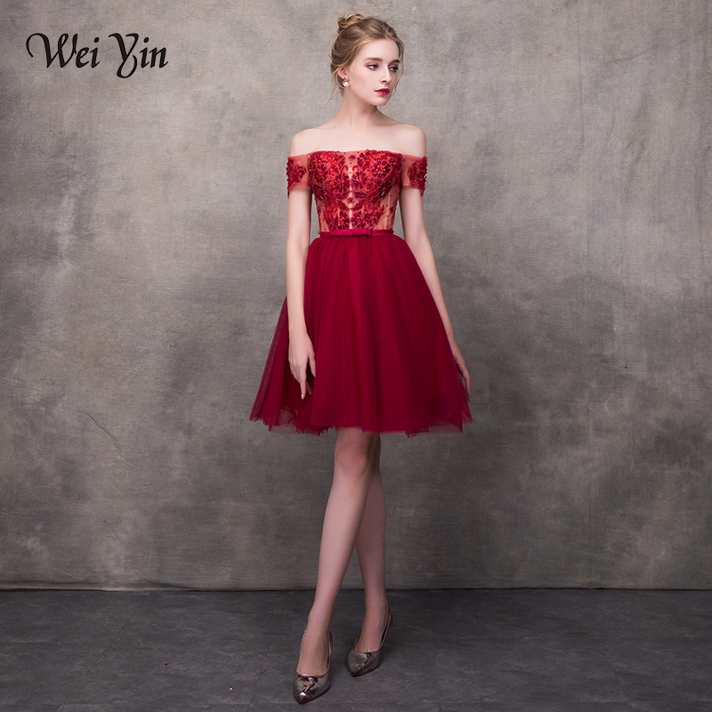 WEIYIN Wine Red 2018 Elegant   Cocktail     Dresses   A-line Short Sleeves Short Mini Tulle Lace Formal Party   Dress