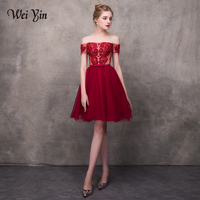 WEIYIN Wine Red 2018 Elegant Cocktail Dresses A line Short Sleeves Short Mini Tulle Lace Formal Party Dress