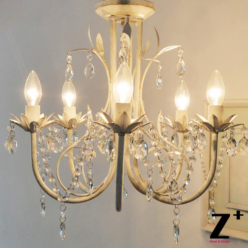 French Country Style Vintage K9 Crystal Rococo Palais Chandelier Tree Branch Leaf 5 Lights Lamp Wrought Iron Cage Free Shiiping In Pendant From