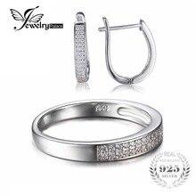 Jewelrypalace band anillo de compromiso de la manera pendiente de plata de ley 925 joyería de la boda establece clásico 925 joyería fina para las mujeres