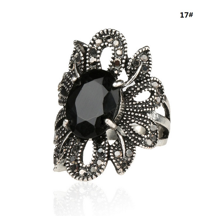 Antique Cute Cheap Discount Black CZ Rhinestone Jewelry Hollow Flowers Designs For Women ...