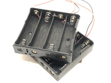 80pcs/lot New Battery Storage Case Cover Plastic 4 x 18650 Batteries Box Holder Black With 6 Wire Leads