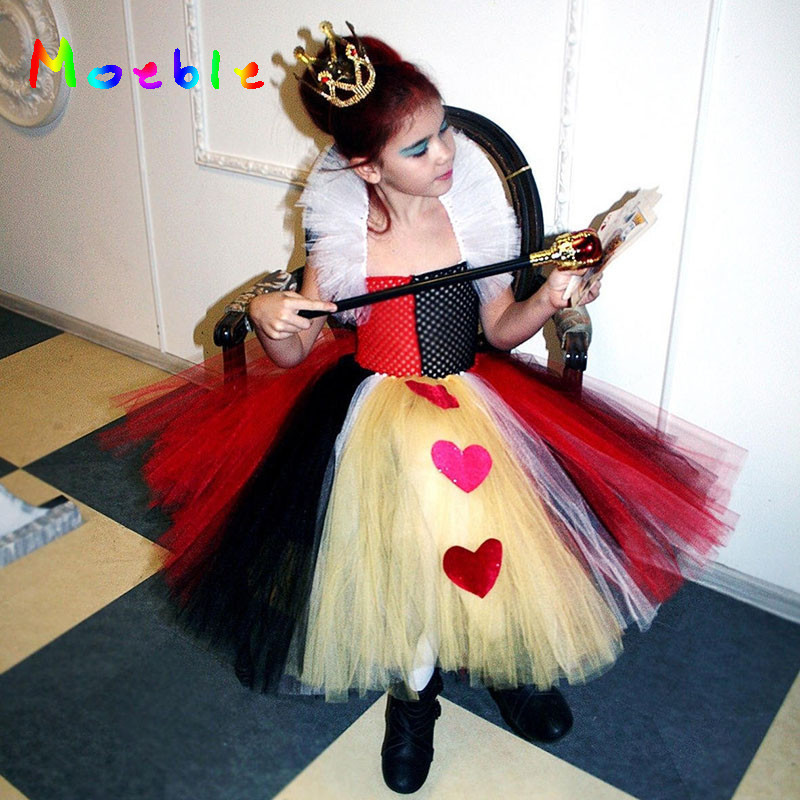 2017 Latest Queen Of Hearts Girl Tutu Dress Party Dresses Princess Pageant Gown Baby Kids Halloween Cosplay Outfit Birthday Gift girl