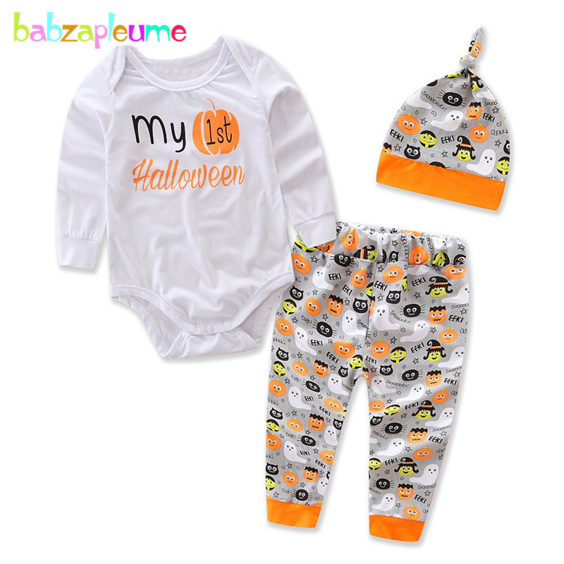 3PCS/3-24Months/Spring Autumn Infant Clothes Halloween Baby Outfits Boys Girls Bodysuits+Pants+Hats Newborn Clothing Sets BC1099