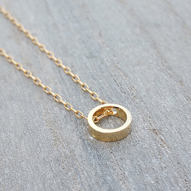 Dainty circle necklace,Classic minimalist necklace Gold Circle Necklace.