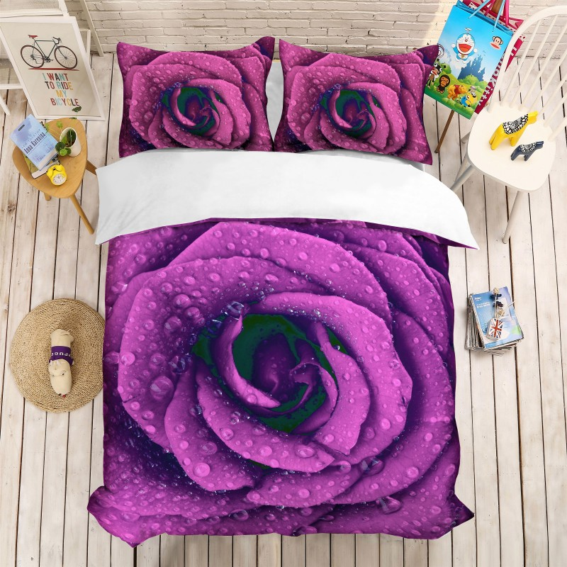 Purple Rose Floral 3D Print Bedding Set Duvet Covers Pillowcases 3pcs US AU Queen King Wedding Bed Sets Custom MadePurple Rose Floral 3D Print Bedding Set Duvet Covers Pillowcases 3pcs US AU Queen King Wedding Bed Sets Custom Made