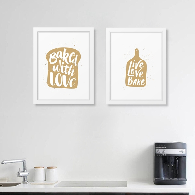 Kitchen quote art prints canvas painting poster bakery baked with love kitchen restaurant modern