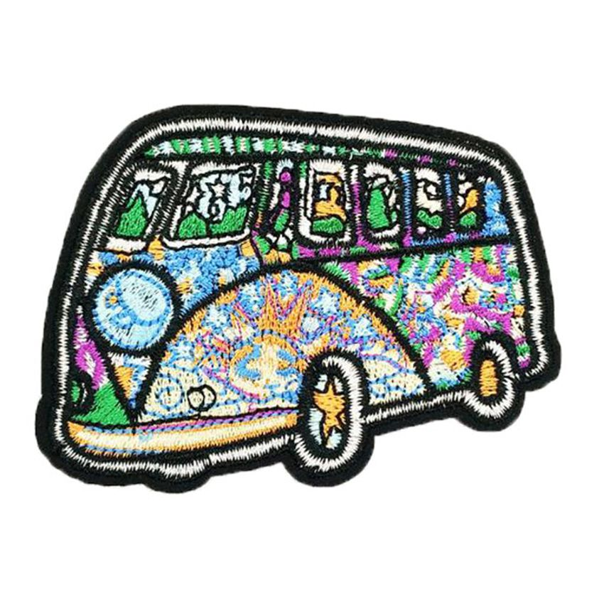 New 1 PCS Colorful Embroidered Psychedelic <font><b>Bus</b></font> Hippie Peace Love Symbol sew applique iron on <font><b>patch</b></font> Biker Vest DIY <font><b>Patch</b></font> Gift image