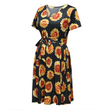 Maternity Sunflower Print Casual Dress