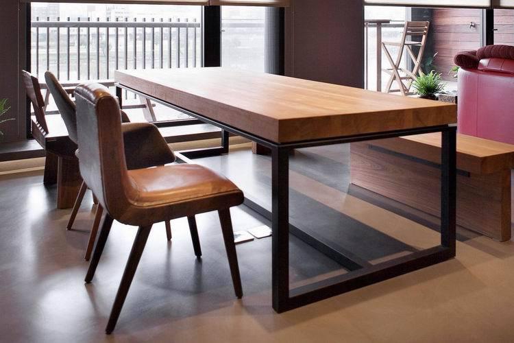 Mesa de madera maciza escritorio mesa de hierro mesa de conferencia ...