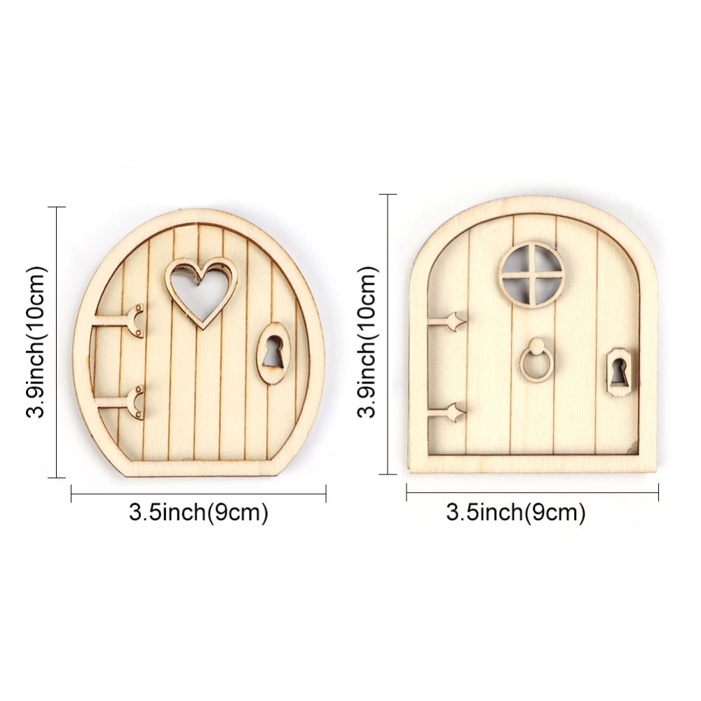 OurWarm 6Pcs Christmas Gift 3D Wooden Fairy Garden Door DIY Craft New Year 2019 Christmas Ornaments Home Decoration Accessories in Pendant Drop Ornaments from Home Garden