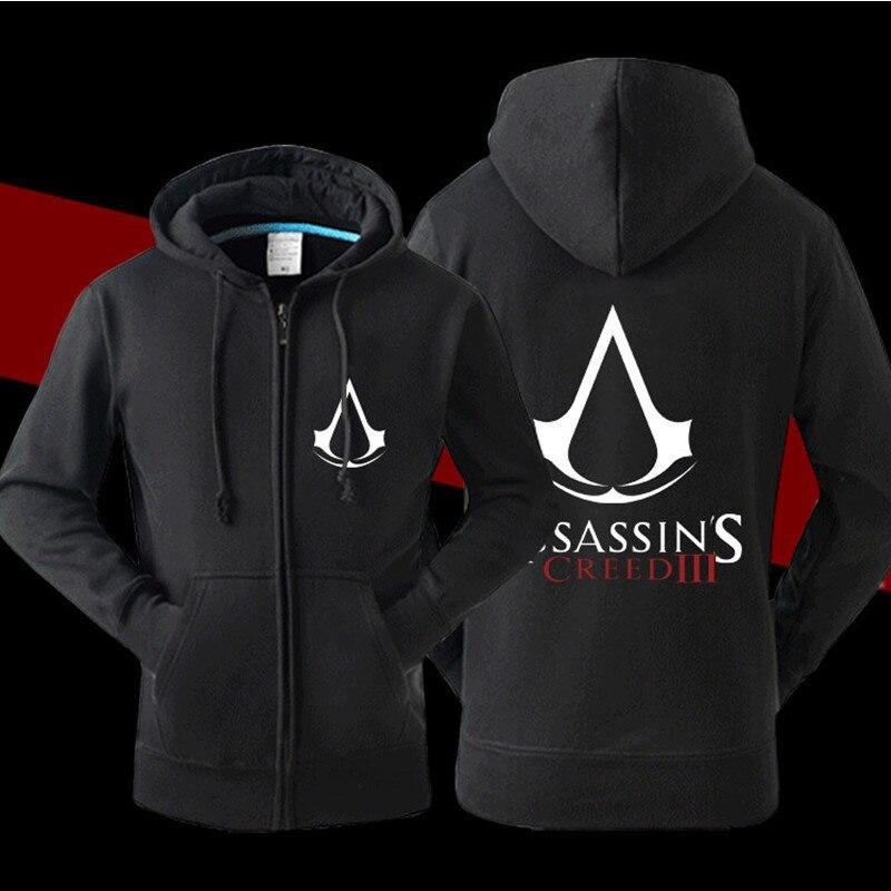 Cool Designer Men Assassin Creed Hood Jacket Fleece Cardigan Zipper Game Hoodie Casual Sweatshirt Assassin Creed