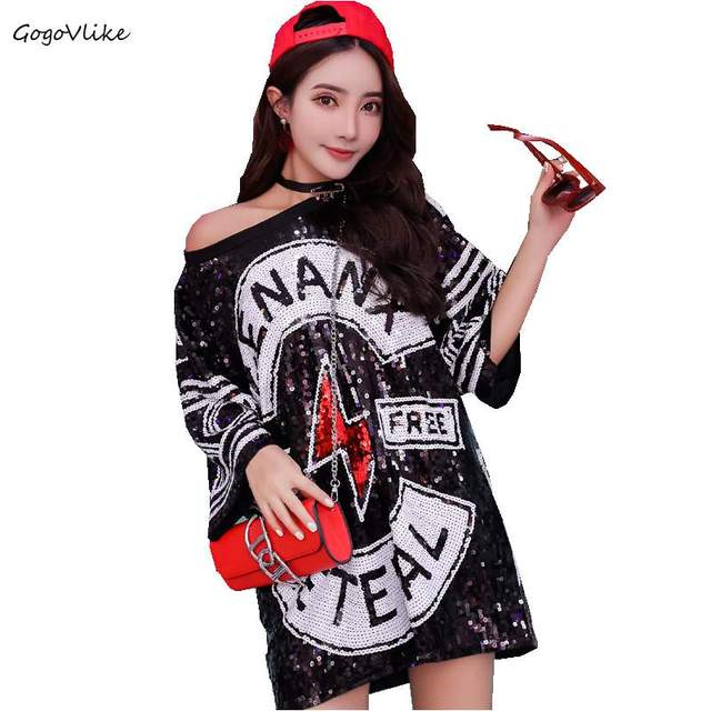 Bling Women T Shirt Sequins Letter women Oversize Top Tees Big Size Black  Singer ulzzang Punk 9e0ce2fb533f