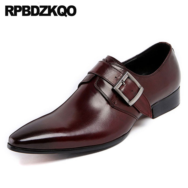 In Efficient Black Brand Derby Pointed Toe Monk Strap Cow Skin Wedding Men Dress Shoes With Buckled Formal Office Italian Burgundy Runway Fragrant Flavor