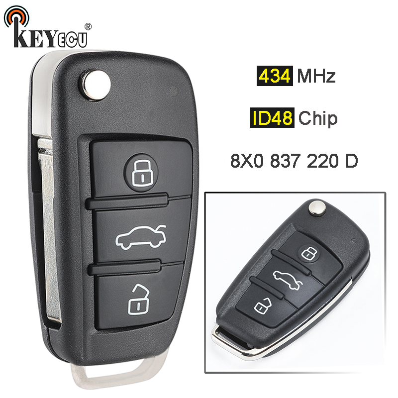 KEYECU 434MHz ID48 Chip P/N: 8X0 837 220 D Upgraded Flip Folding 3 Button Remote Car Key Fob for Audi A1 Q3 R8 TT
