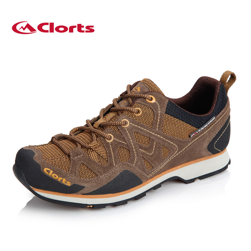 Clorts Men Hiking Shoes Cow Suede Trekking Shoes Waterproof Outdoor Mesh Sports Shoes Non-slip Climbing Shoes for Men 3E004 winter men s outdoor cotton warm sports hiking shoes sneakes men anti slip climbing athletic shoes camping chaussures trekking