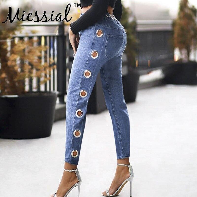 Miessial Plus size high waist pants women Denim   jeans   pants&capris trousers pencil pants Female blue   jeans   sweatpants streetwear