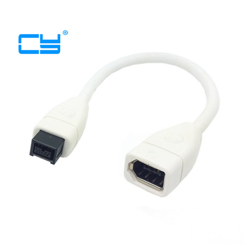 cy White Firewire <font><b>IEEE</b></font> 1394 IEEE1394 6PIN Female to <font><b>1394b</b></font> 9PIN male Firewire 400 TO 80010cm <font><b>Cable</b></font> Adapter image